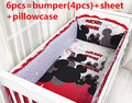 Promotion! 6PCS Mickey Mouse 100% cotton baby bedding set unpick and wash the crib piece set (bumpers+sheet+pillow cover)
