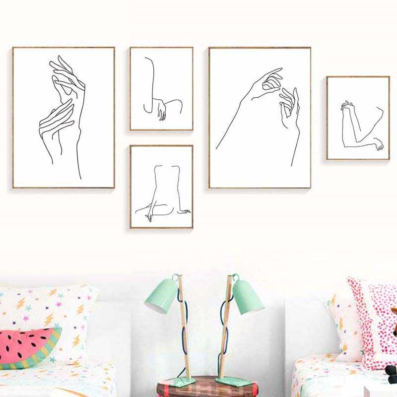 Minimalist Sexy Women Hands Body Poster Print Picture Elegant Sitting Posture Painting Line Drawing Canvas Living Home Decor