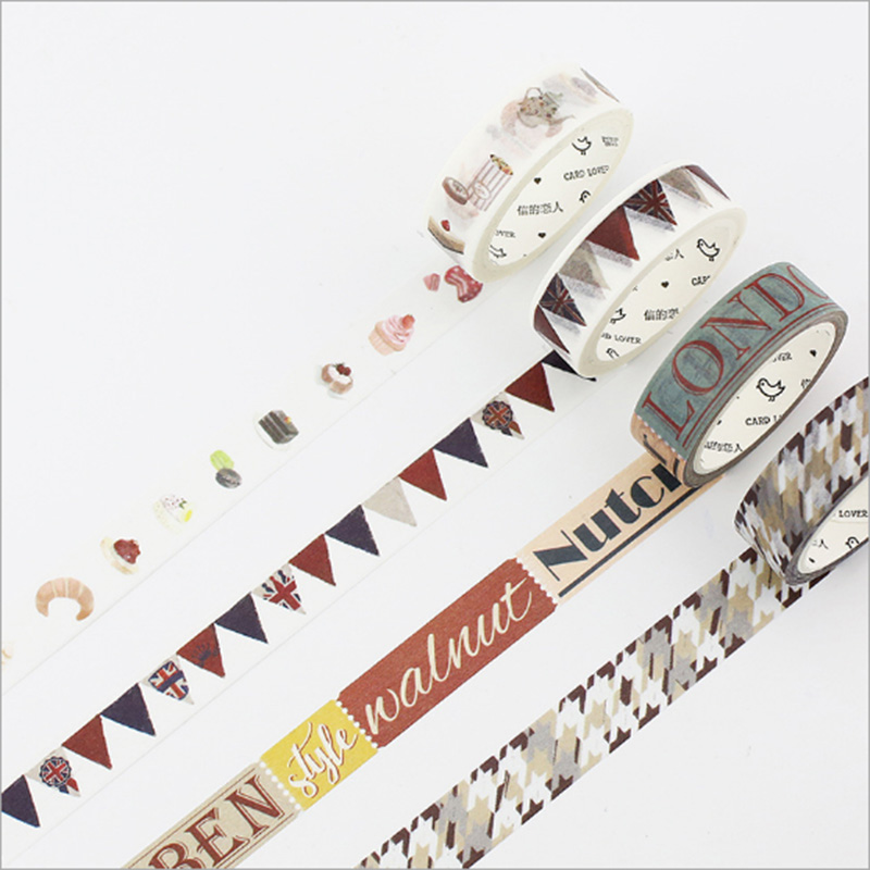 5 30mmX7m British series decorative washi tape DIY Diary Scrapbook paper tapes kawaii adhesive tape label sticker stationery in Office Adhesive Tape from Office School Supplies