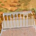 1 x Pro Golden Nail Brocas de Carburo de Acero Cabeza de Pulido herramienta de Uñas Poco Oro Plateado para la Máquina de Uñas de Arte Polaco # ND135