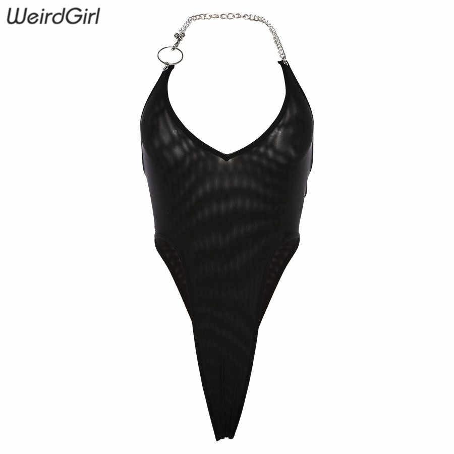 Новый женский модный укороченный сексуальный эластичный сетчатый прозрачный боди комбинезон на высокой талии на бретели из цепи