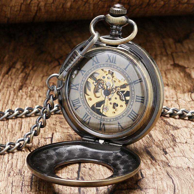 2016 New Arrival Retro Simple Hollow Case Roman Number Dial Mechanical Pocket With Chain Free Drop Shipping