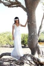 Short Sleeves Lace Chiffon bridal Dress Beach Wedding Boho Bohemian vestido de noiva