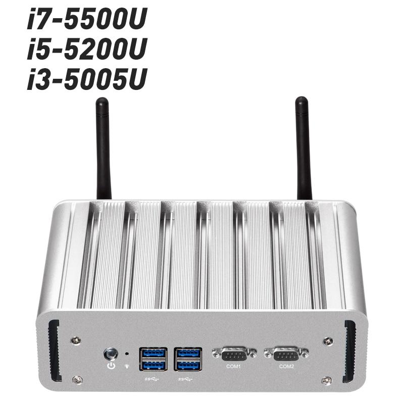 XCY Mini PC Pentium 3805U Quad core 8G RAM DDR3L Windows 10/7/8 Fanless Nuc Micro PC wifi HDMI VGA Dual RS232 Dual RJ45