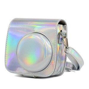 Image 4 - Fujifilm Instax Mini 9 Mini 8 sac étui pour appareil photo holographique brillant Laser instantané caméra bandoulière sac protecteur housse pochette