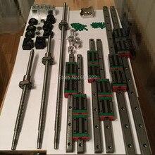 12 HBH15CA Carré Linéaire guide ensembles + 3 x SFU605-450/1050/1650mm vis à billes ensembles + BK BF12 + 3 jaw Accouplement Flexible Plum coupleur