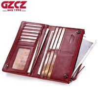 GZCZ Genuine Leather Women Wallet Female Card Holder And Phone Bags Luxury Brand Woman Walet Long