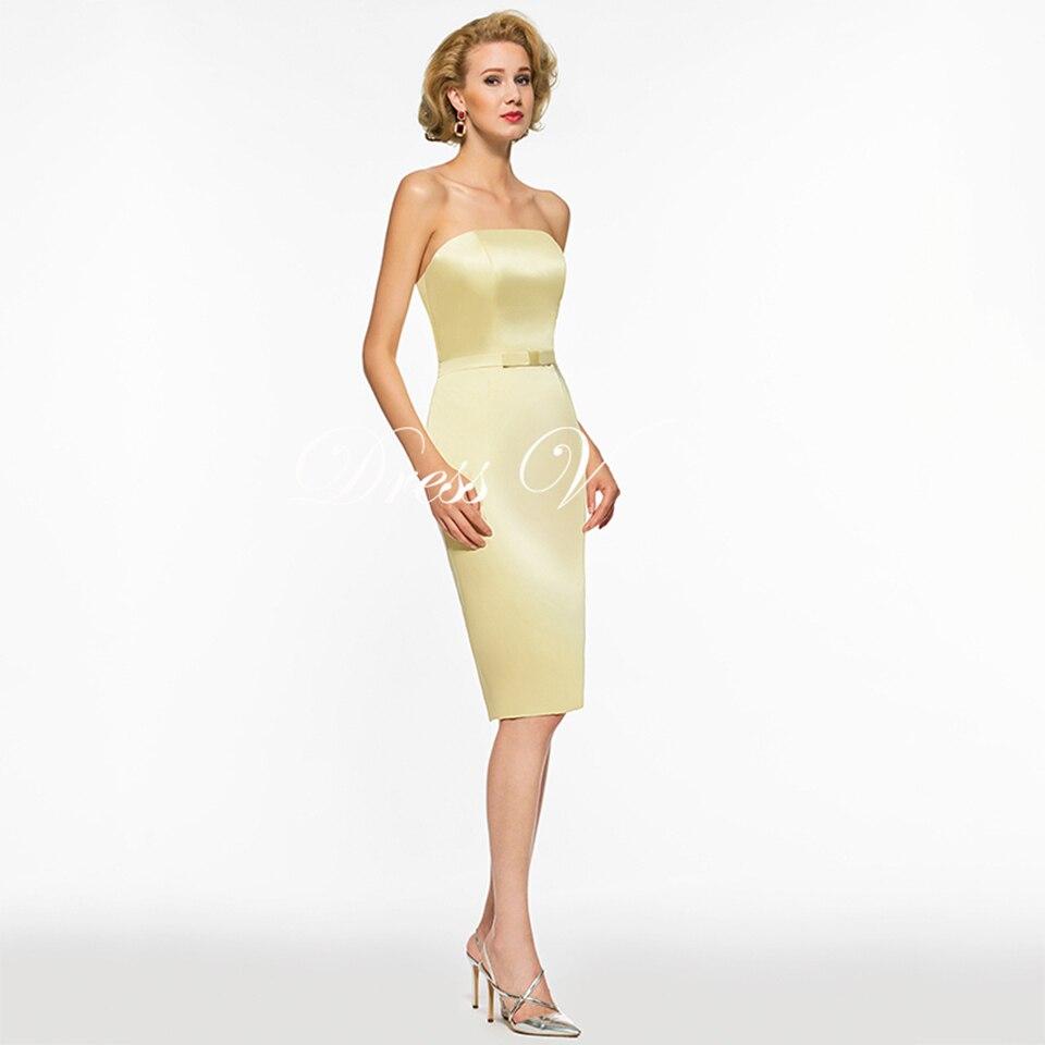 62938935dc Dressv Yellow Mother Of The Bride Dress Scoop Neck 3 4 Sleeves Sheath Bow  Tea Length Wedding Party Mother Of The Bride Dress ...