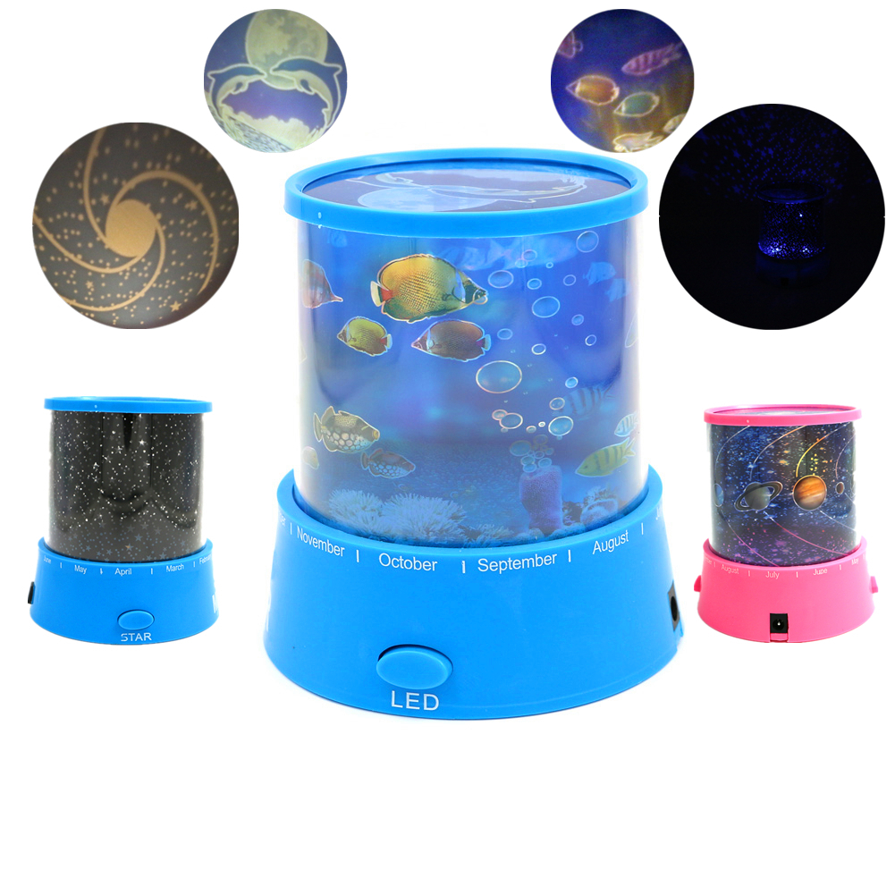 Bedroom planetarium projector for kids - 2016 Romantic Rotating Spin Night Light Projector Children Kids Baby Sleep Lighting Sky Star Fish Lamp