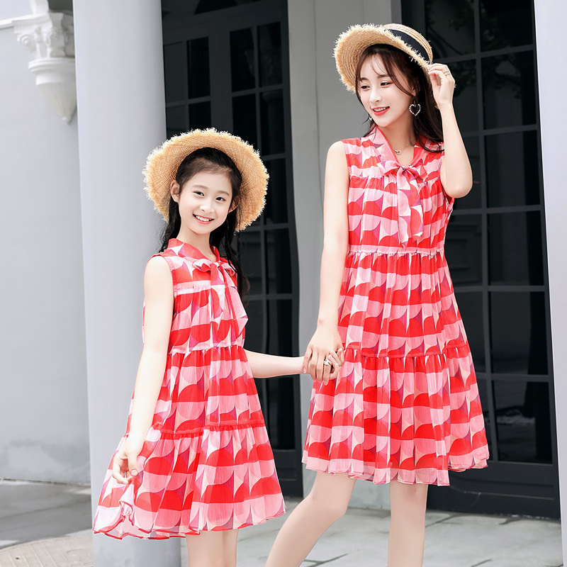 Matching Mother Daughter Clothes Bow Fashion Print Summer