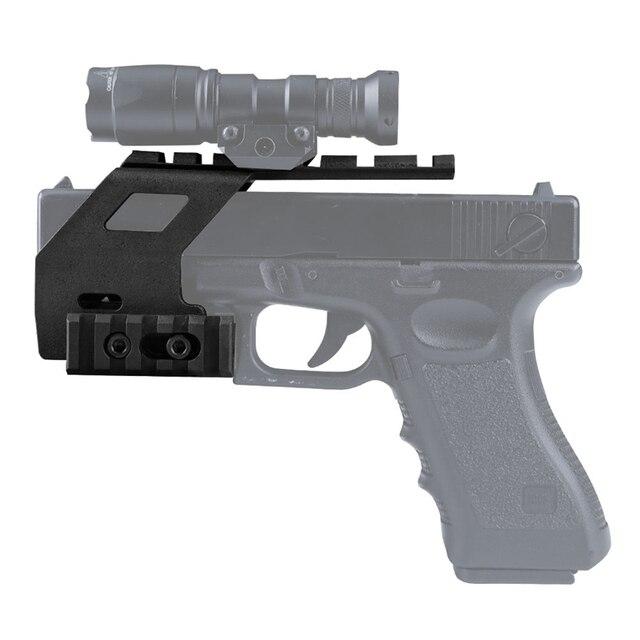 Universal Tactical AEG Pistol Reinforced Nylon Base Quad Rail Picatinny Sight Laser Lighting Scope Mount For