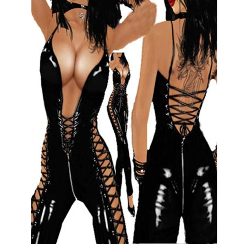 Backless Women Sexy Lingerie Latex Catsuit Costume Lingerie Sexy Hot Erotic Costumes PVC Leather Bodysuit Black Jumpsuit