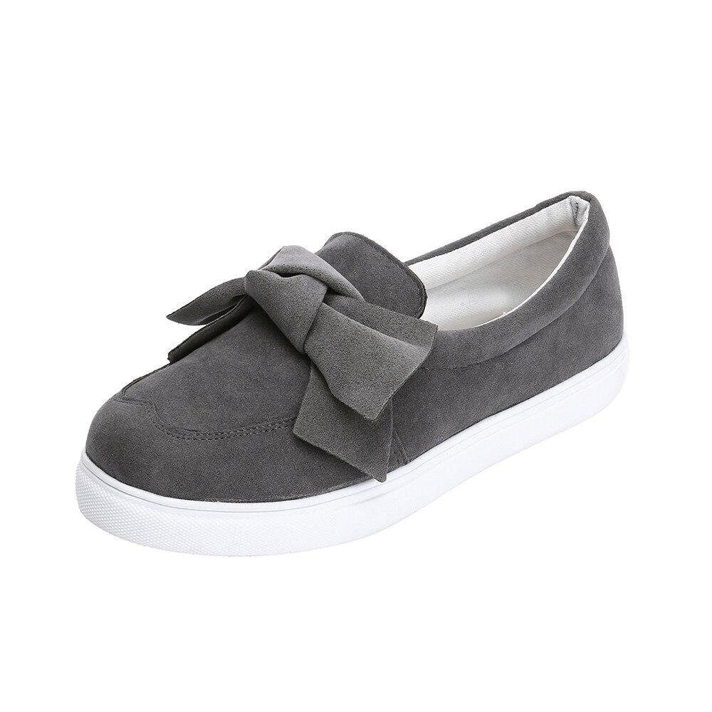 Dames 08 Mode Casual Filles Printemps Porter Facile Sur Bowknot Sneakers Femmes Slip Rond Automne Plates Chaussures De Bout xfpqTH5