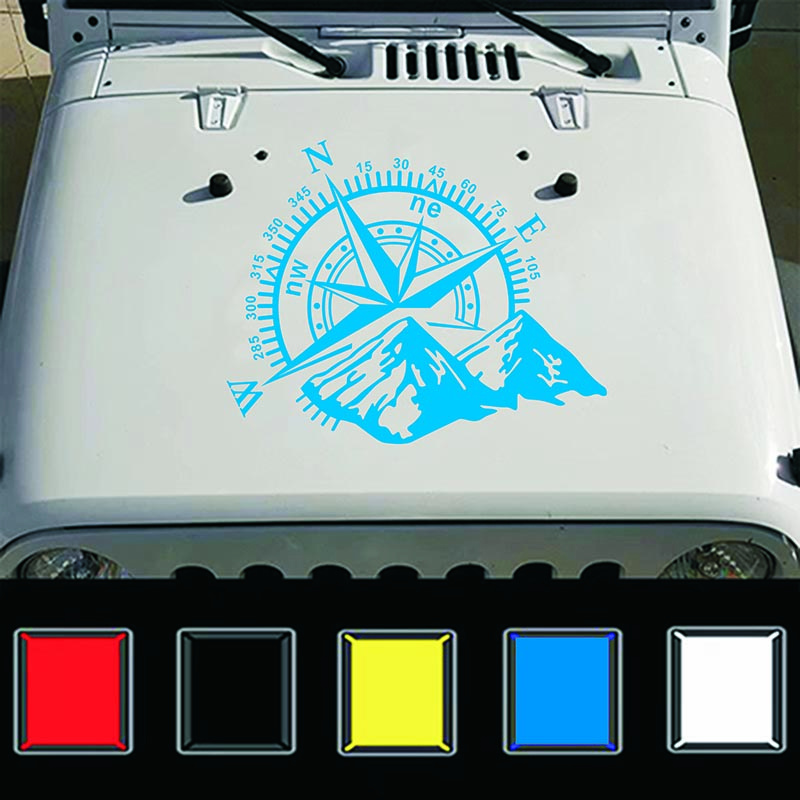 Dragonpad Fashion Car Compass Rose Navigate Offroad Vinyl Sticker Decal Auto Decoration Stoel Rugkussen