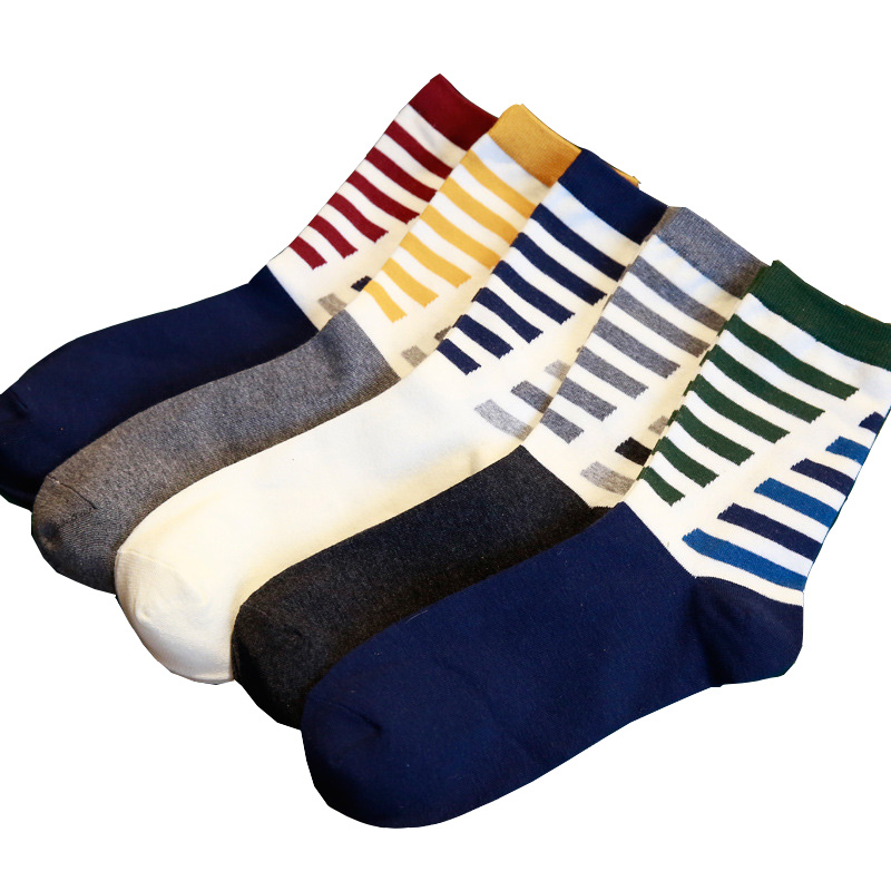 1Pair Men Socks Classic Stripe Design Casual Cartoon Cotton Socks Funny Happy Socks High Quality Tube Sox Hot Sale