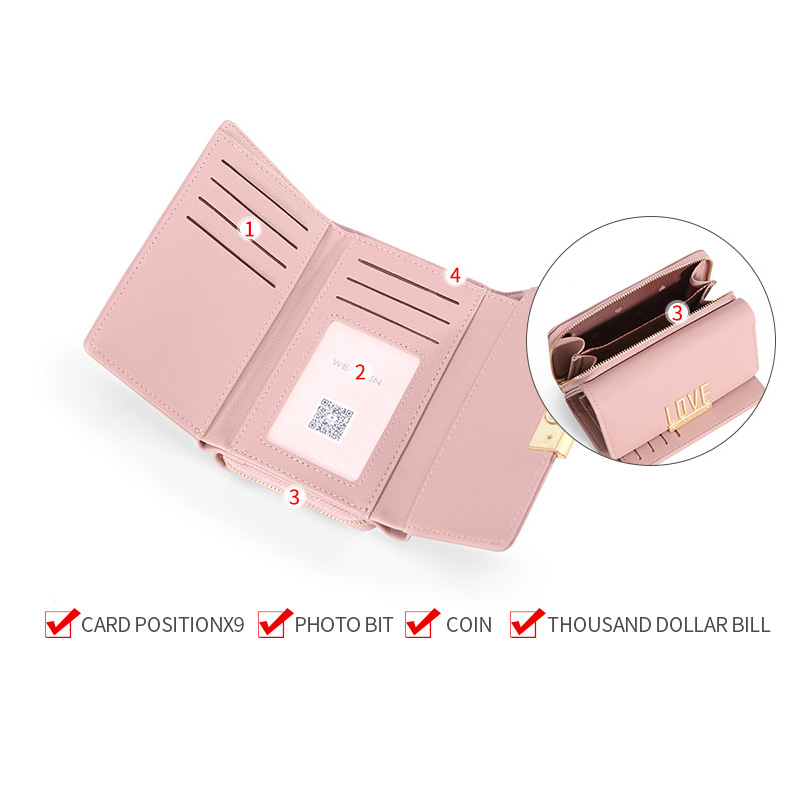 WEICHEN Large Capacity Clutch Wallet Women Zipper Cell Phone Pocket Card Holder LOVE Pattern Female Wallets Purse Ladies Cartera in Wallets from Luggage Bags