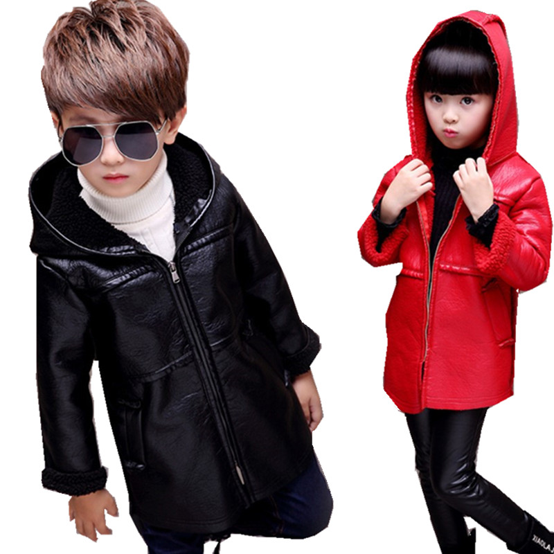 Children Clothing Winter Fashion Leather Jacket Wool Long Hooded Girls Jackets Boys Coat Velvet Outerwear Girls Clothes 10 Year купить