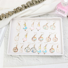 Korea Acrylic Cute Cartoon Alice Clock Poker Rabbit Cats Woman Girls Hook Clips Dangle Drop Earrings Fashion Jewelry-LAF