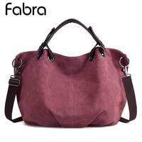 Fabra New Canvas Women Hobo Bags Handbags Big Shoulder Messenger Bag Ladies Vintage Bag For Travel Large Casual Tote