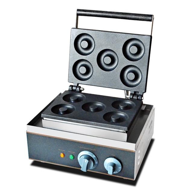 110V 220V 5pcs Non-stick Commercial Electric Donut Waffle Maker Machine Doughnut Baking Machine With Timer Baking Mode EU/AU/UK
