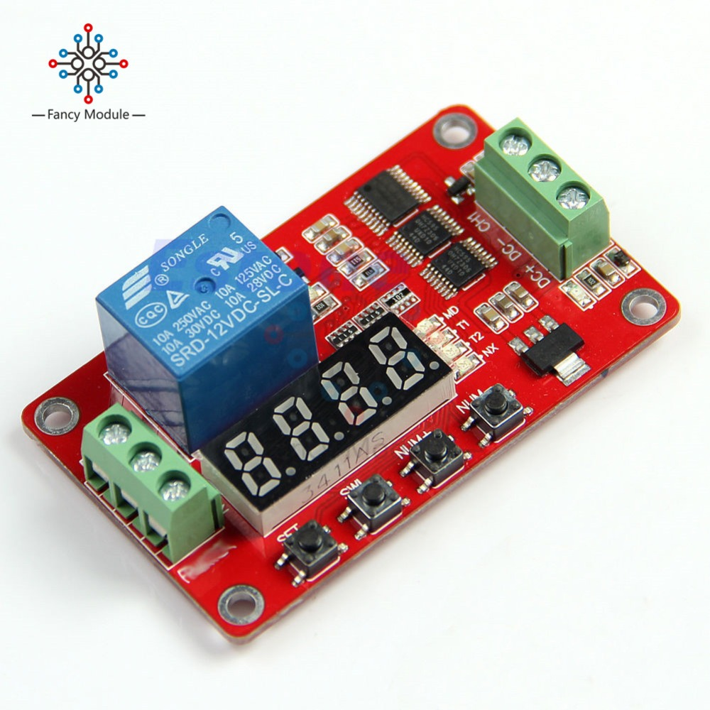 12V Multifunction Self-lock Relay PLC Cycle Timer Module Delay Time Swit FRM01