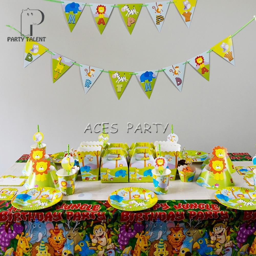 For 12kids 74Pcs Jungle Safari Animals theme birthday party supplie ...