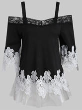 Wipalo Women Lace Panel Open Shoulder Applique T-Shirt Spaghetti Strap Half Sleeves Slash Neck Casual T Shirt Ladies Tops 2XL(China)