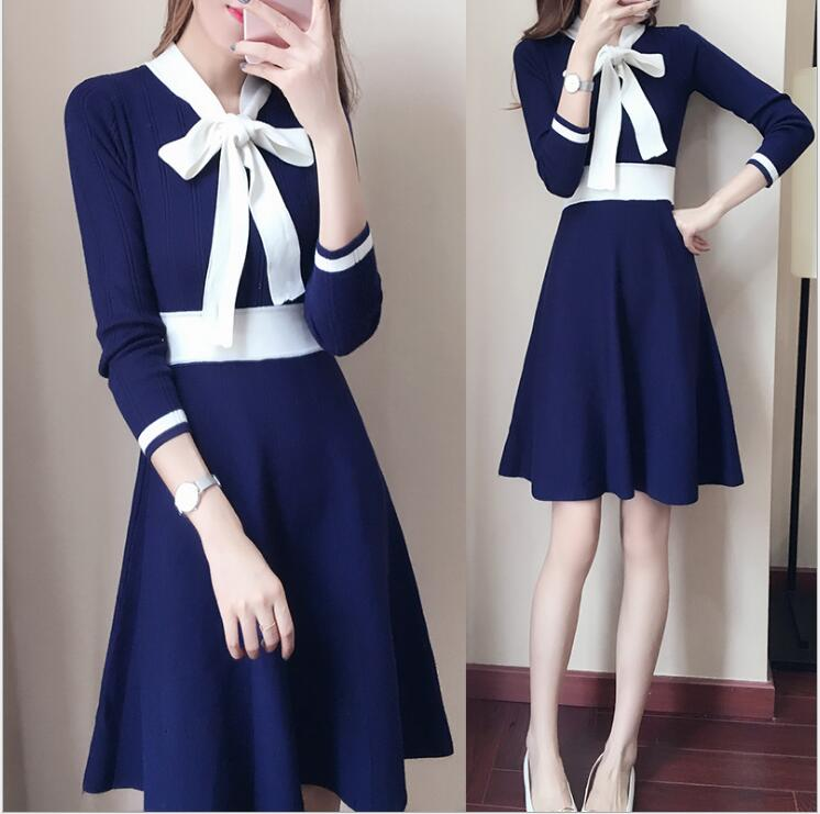 Autumn and winter new Korean fashion bow tie hit color long paragraph sets of long sleeves A word knitted sweater dress