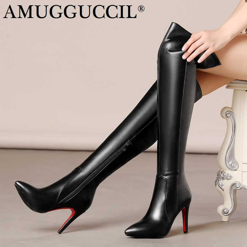 2018 New Plus Big Size 33-43 Black Red Zip Fashion Sexy Thigh High Heel Over The Knee Autumn Winter Female Lady Women Boot X1685 2018 new plus big size 32 46 black brown gray red lace up zip cut outs sexy female lady over the knee women summer boots x1633