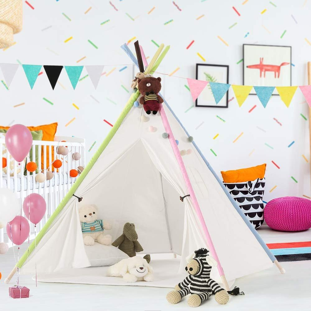 Style; In Portable Canvas Indian Teepee With Ventilated Window For Indoor And Outdoor Fashionable Children Play Tent With Floor Mat 2019 New Style Kids Teepee Tent