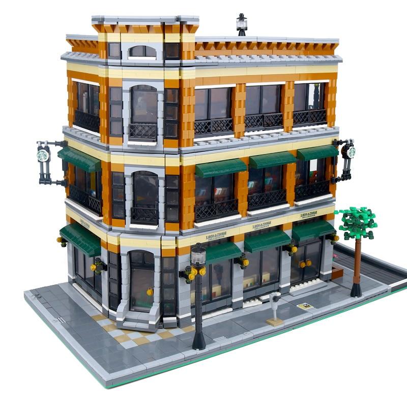DHL 15017 ใช้งานร่วมกับ Expert City Street View 4616 PCS Bookstore Cafe ชุดอาคารชุดอิฐบล็อกของเล่นของขวัญ-ใน บล็อก จาก ของเล่นและงานอดิเรก บน   3