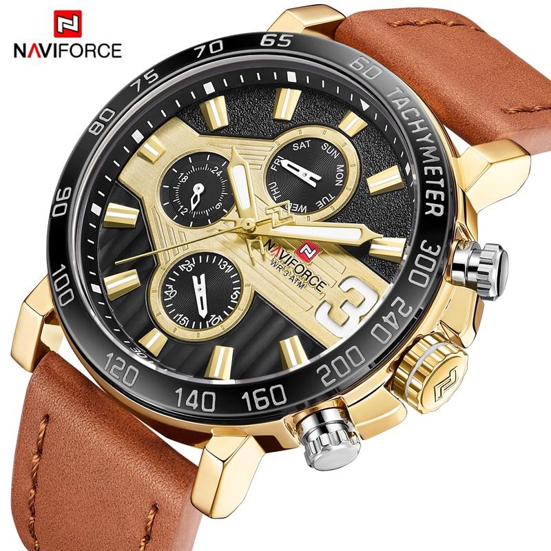 купить NAVIFORCE Top Luxury Brand Men's Watches Gold Analog Quartz Wrist Watches Leather Strap Date Male Hour Clock Relogio Masculio по цене 1903.25 рублей
