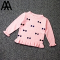 Anos de Qualidade Superior De Lã Camisola Meninas Pullover Para O Inverno Outono Outwear Quente Criança Crianças Crianças Bowknot Camisola