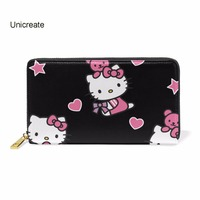 Cute Hello Kitty Love Leather Wallet Women Zipper Long Card Holder Large Female Genuine Leather Money Bag For Girls Coin Purse