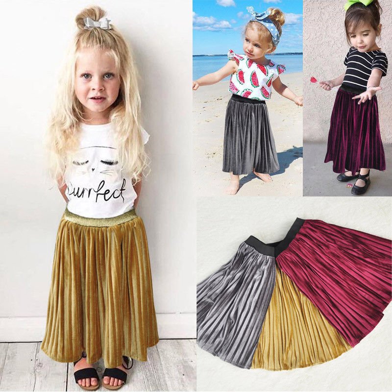 Attractive 2 7 Enfant Kids Baby Girl Casual Long Skirt Party Pincess Girls  LY89