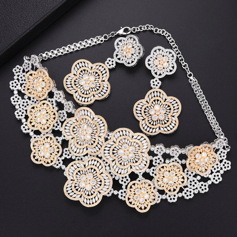 Missvikki ensembles de bijoux élégants à la mode grand collier pendentif boucles d'oreilles en cristal naturel zircon cubique femmes fille cadeau de fête