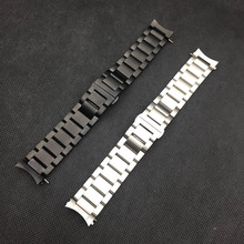 Curved End Stainless Steel Watchband 22mm for Samsung Gear S3 Classic Frontier Smart Watch Band Strap Bracelet Silver Black стоимость