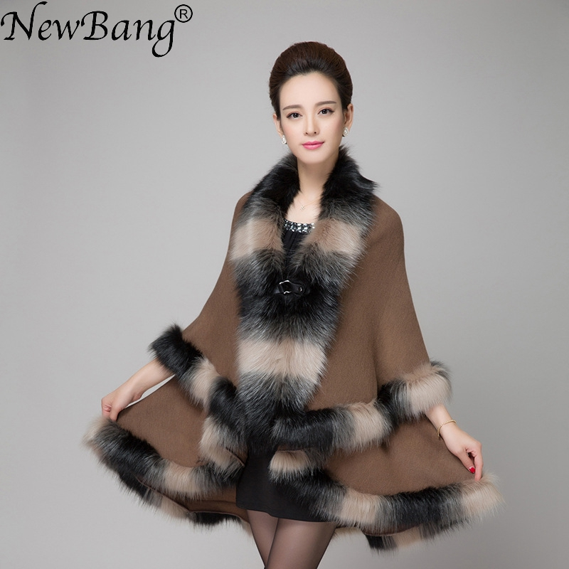 NewBang Brand Winter Women's Cardigans Multicolour Fake Fox Fur Collar Cashmere Sweaters Shawl Knitted Cardigan Poncho Cape