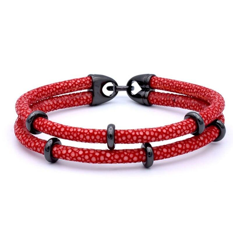 Bracelet en cuir argenté à deux couches en acier inoxydable pour hommes, bracelet en cuir véritable Stingray de luxe en thaïlande - 2