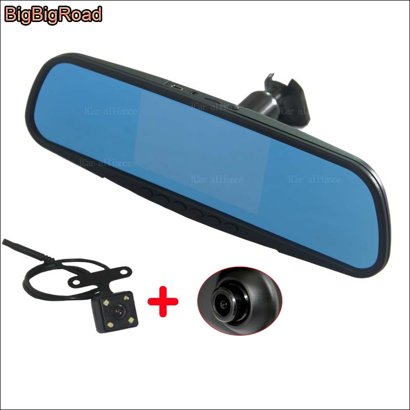 BigBigRoad For ford Fiesta Car DVR front camera Dual Lens rearview mirror video registrator DashCam with Original Bracket bigbigroad for vw tiguan routan car dvr blue screen dual lens rearview mirror video recorder 5 inch car black box night vision