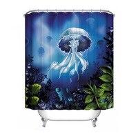 Polyester Waterproof Shower Curtain Sea Gull Bathroom Decorations Dolphin Blue Jellyfish Submarine Coral 150 180cm 180