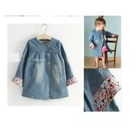 Free Shipping Spring Autumn Girl S Coat Cowboy Cloth Children S Jacket Kid Long Clothing Windbreak