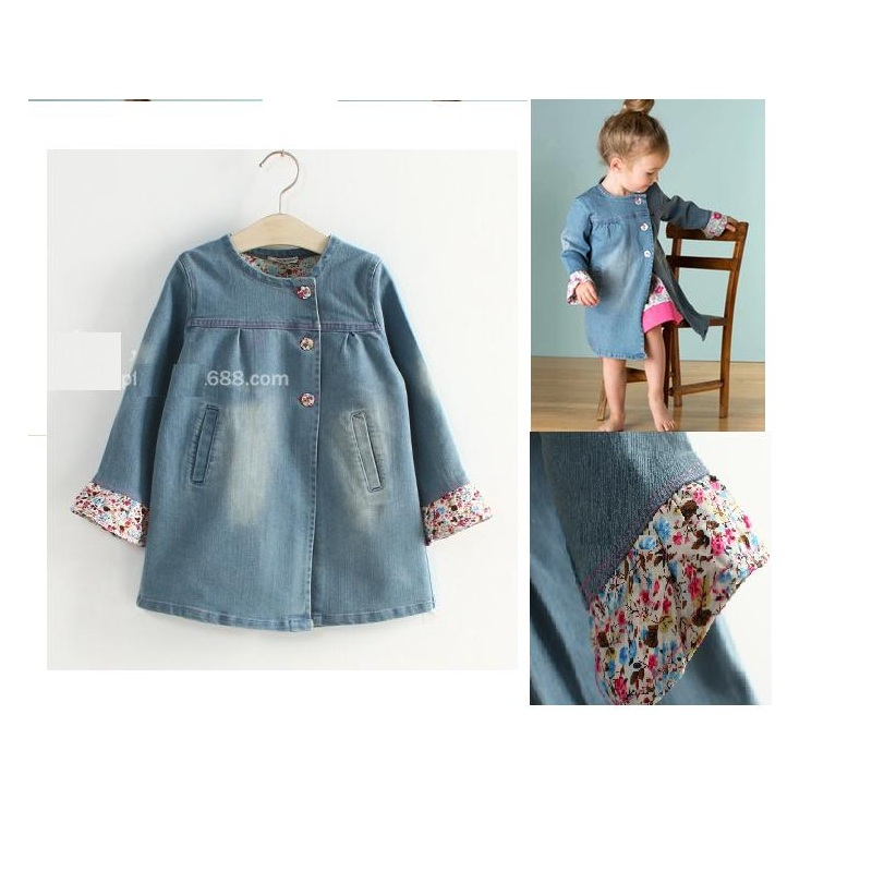 Free shipping spring autumn girls coat cowboy cloth childrens jacket kid long clothing windbreak girl suit clothes hot sales