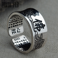 Genuine 100 925 Sterling Silver Vintage Letter Buddhism Lotus Flower Open Rings Fashion Jewelry