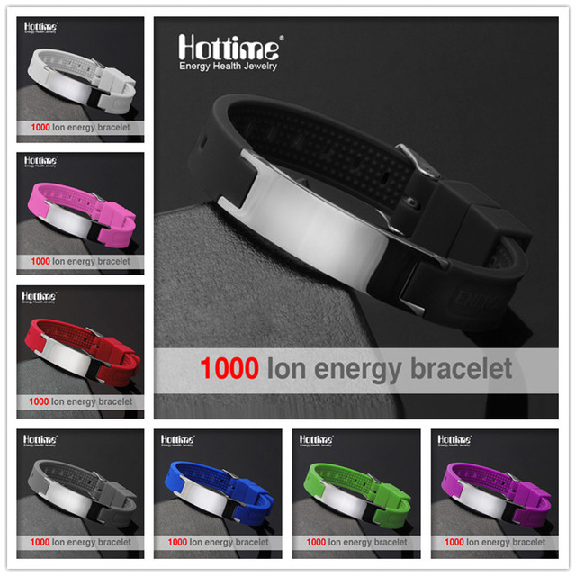 Hottime New Fashion Street Basketball Sports Silicone Bracelet Men Bio Magnetic Energy Titanium Steel Negative ION Bracelets