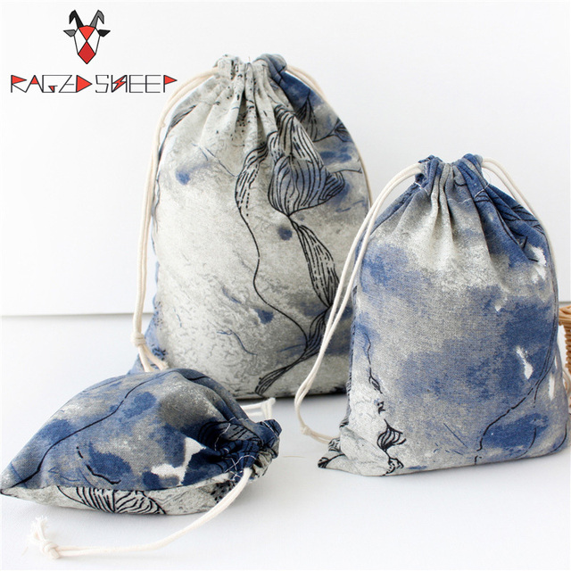 Raged Sheep Fashion Drawstring Cotton Grocery Shopping Bags Folding Ink Painting Shopping Cart Eco Grab Bag Reusable Bag