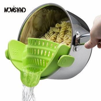 MOM'S HAND Silicone Pot Pan Bowl Funnel Strainer Kitchen Rice Washing Colander Kitchen Accessories