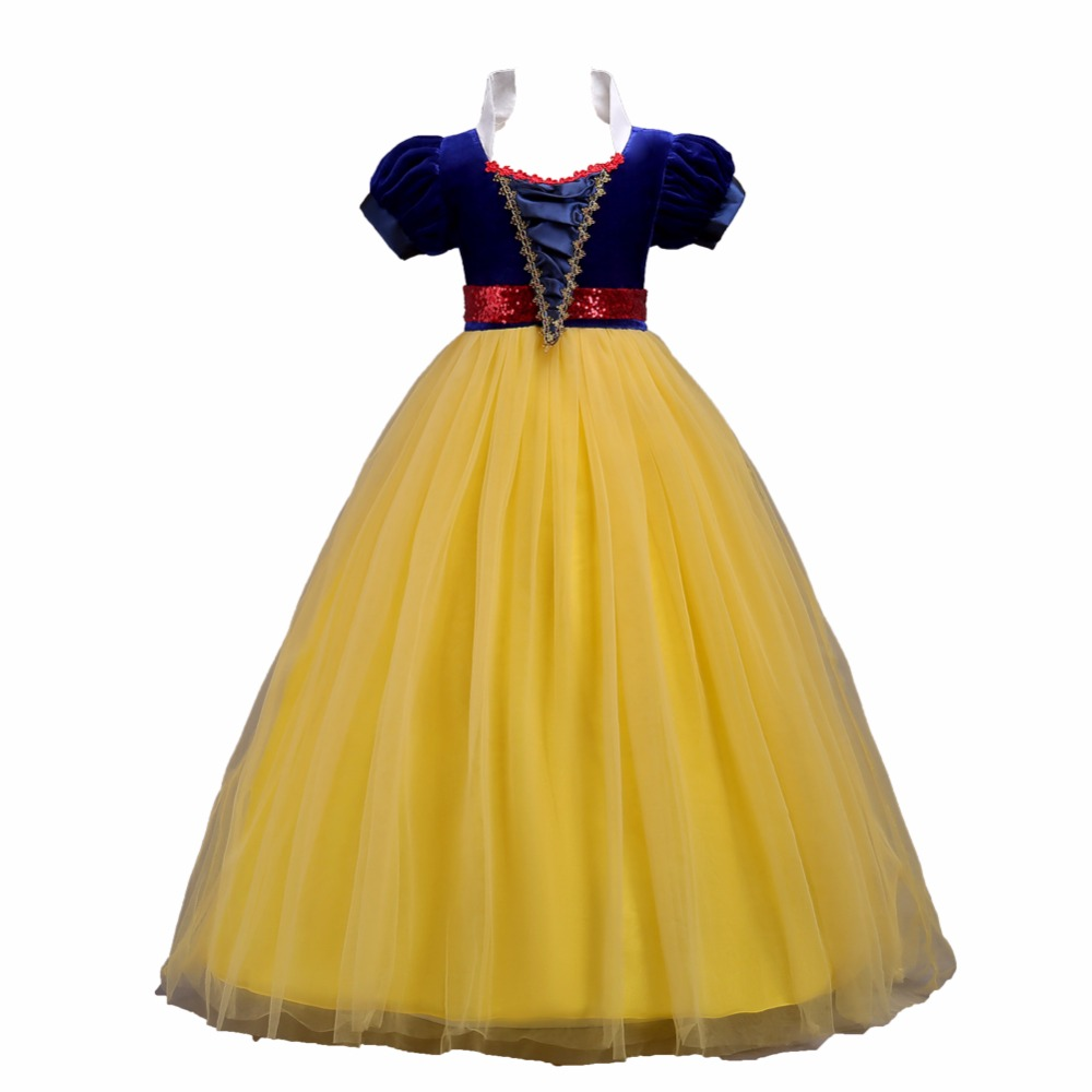 5-16 Years Girls Snow White Princess Costume Pullover Dress Dress For Girls Dresses Wedding Party Robe Fille Girls Long Dresses protective flip open pu leather case for iphone 5 sky blue