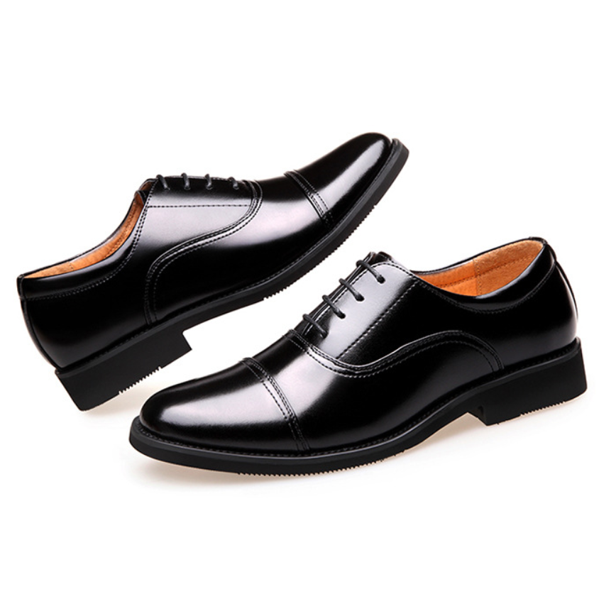 45d4f1f8aca 2018 China Officer Cow Split Leather Shoes Men s Flats Black Oxfords Formal  Wedding Shoes Suit Dress Business Shoes For Party-in Formal Shoes from Shoes  on ...