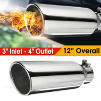 Universal Exhaust Pipe Tip Stainless Steel 3 Inlet 4 Outlet 12inch Long Diesel Exhaust Tip Muffer